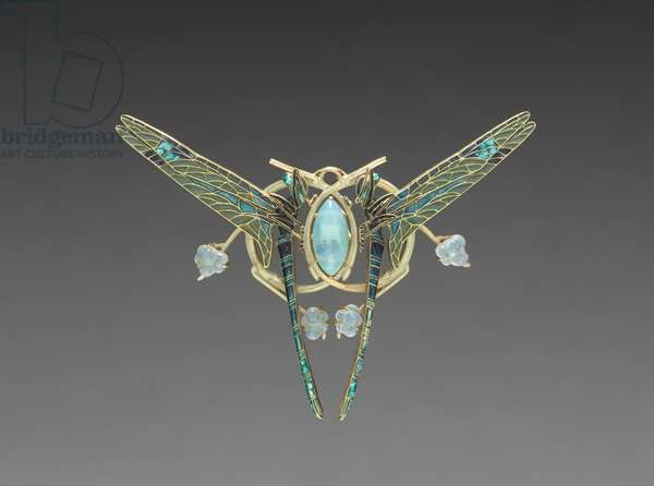 Dragon Fly Brooch, c.1900-10 (gold with plique-a-jour and cloisonne enamels)
