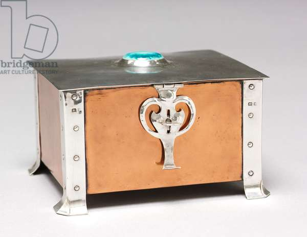 Covered Box, 1903 (silver, copper, ceramic with wood lining)