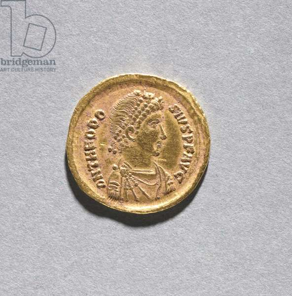 Solidus of Theodosius I the Great (obverse), 383-388 (gold) (see CVL 499733 for reverse)