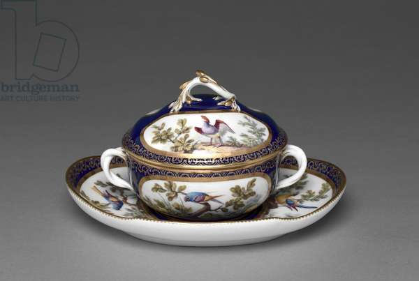 Broth Basin, decorated by François-Joseph Aloncle, 1772 (soft-paste porcelain with enamel and gilt decoration)