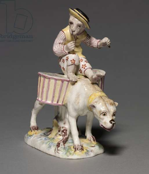 Figure of a Monkey on a Dog, manufacturer Mennecy-Villeroy Factory, France, c.1760 (soft-paste porcelain with enamel decoration)