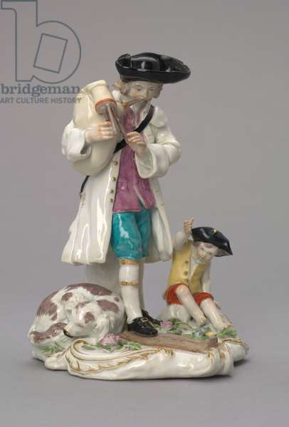 The Itinerant Musician, manufactured by Chelsea Porcelain Factory, England, c.1756 (soft-paste porcelain)