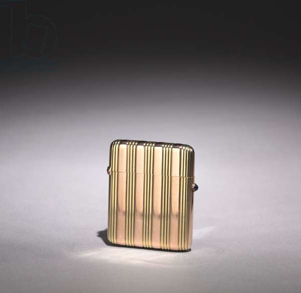 Match Box, firm of Peter Carl Fabergé (1846-1920), after 1896 (pink & yellow gold, cabochon sapphire)