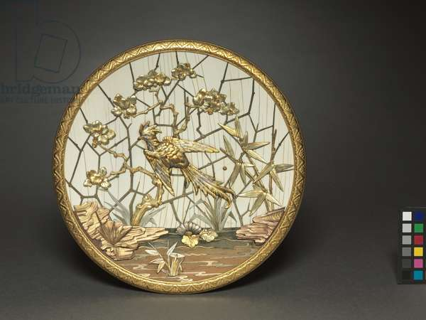 Plaque, made by Firm of Veuve Ferdinand Duvinage, retailed by Alphonse Giroux, c.1880 (metal gilded in several colors of gold, silver-colored metal, ivory, wood)