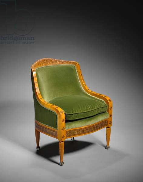 Arm Chair, designed by Tiffany Studios, USA, c.1890 (satinwood with inlays of brass and various woods)