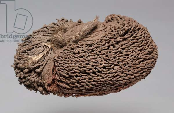 Wig, early to mid 1900s (fibre, animal pelt, clay)