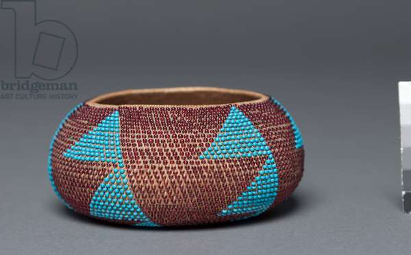 Gift Bowl, Wappo, c.1895 (willow, sedge, with beads; coiled (1 rod))