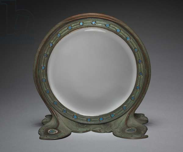Mirror Stand, made by Tiffany Studios, c.1900 (bronze & glass mosaic)