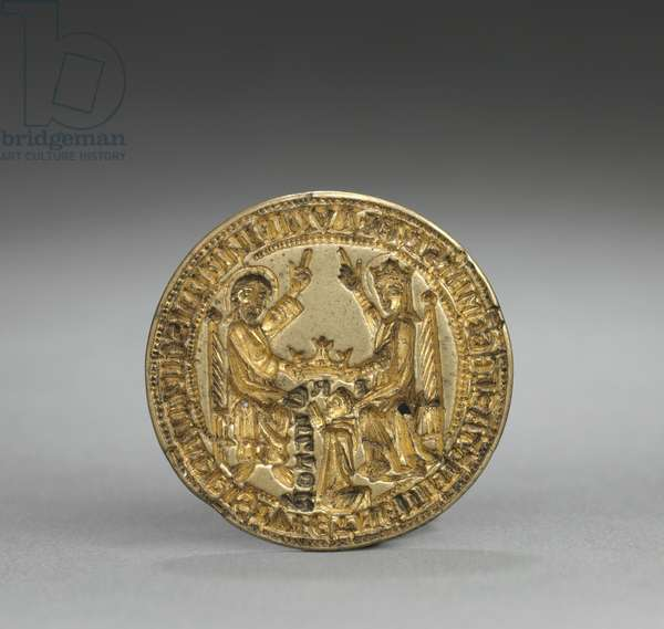 Almond-Shaped Seal: Coronation of the Virgin with a Kneeling Monk, 1300-1400 (gilded bronze)