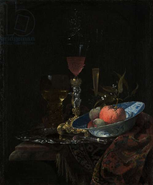Wineglass and a Bowl of Fruit, 1663 (oil on canvas)