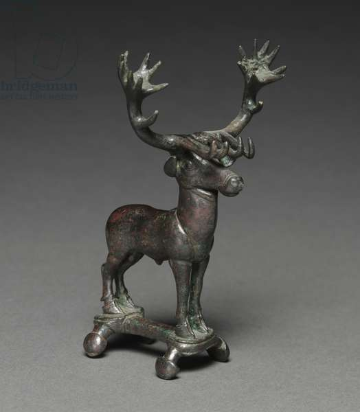 Stag Poletop, 1400-1200 BC (solid cast bronze)