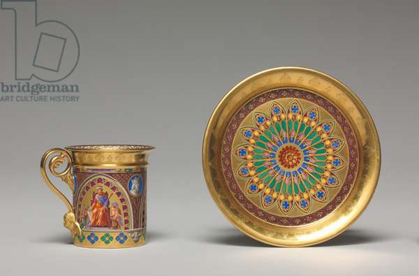 Cup and Saucer, decorated by Pierre Huard, 1827 (porcelain)