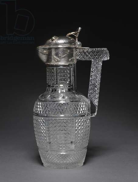 Claret Jug, Tiffany Studios, USA, c.1880 (cut-glass and silver)