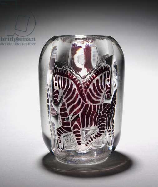 Zebra Vase, made by Orrefors Glasshouse, Sweden, 1939 (graal glass)