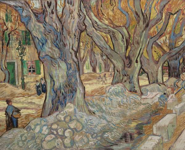 The Large Plane Trees, or Road Menders at Saint-Rémy, 1889 (oil on fabric)