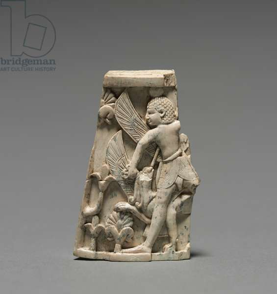 Decorative Plaque: Man; and Griffin in Combat, 900-800 BC (ivory)