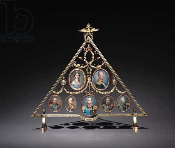 Frame for Nine Miniatures, firm of Peter Carl Fabergé (1846-1920), 1896-1905 (gold, silver gilt)