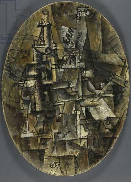 Bottle, Glass, Fork, 1911-12 (oil on canvas)