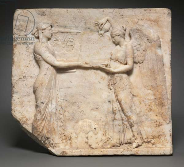 Relief of Apollo with Nike, 27 BC-14 (Greek marble)