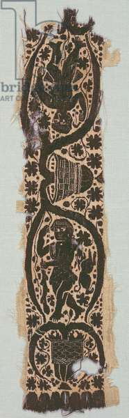 Rare Silk Tunic Fragment with Ornamental Sleeve Band, 400s-500s (plain weave, silk, tapestry weave with supplementary weft wrapping, un-dyed linen, dyed wool, silk)