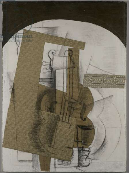 The Violin, 1914 (collage, charcoal & graphite on board)