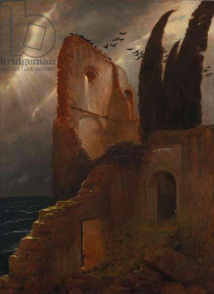 Ruin by the Sea, 1881 (oil on fabric)