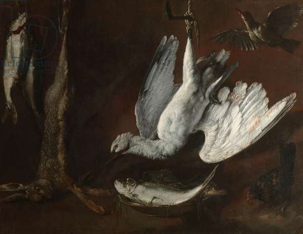 Hare, Spoonbill, and Fish, mid-1600s (oil on canvas)