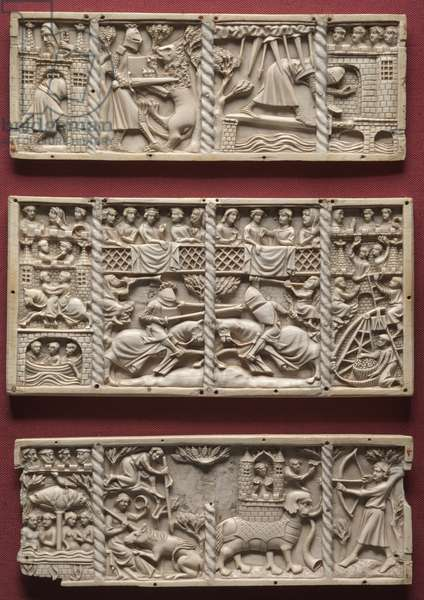 Three Panels from a Casket with Scenes from Courtly Romances, c.1330-1350 (ivory)