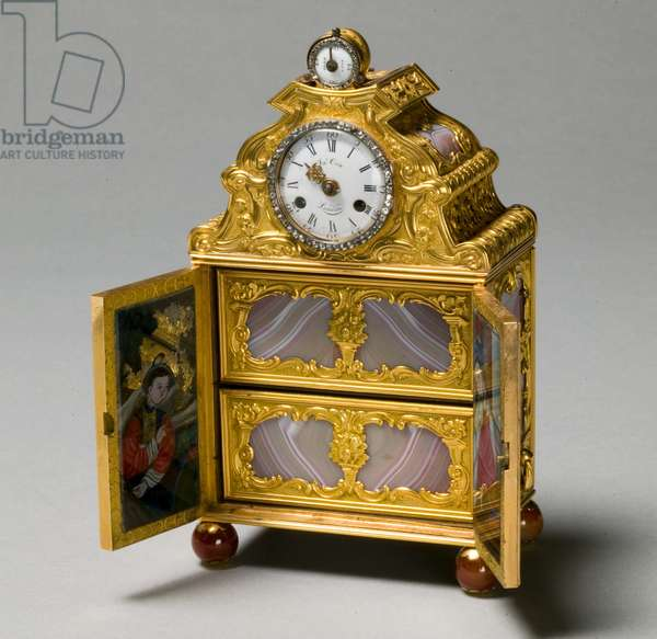 Miniature Cabinet with Watch, c.1770-75 (gold, agate, enamel dial, glass)