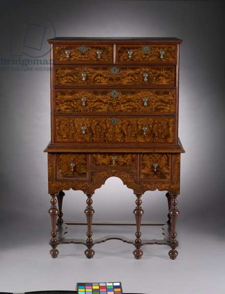 Highboy, 1700-1720 (burled maple veneer with walnut herringbone bandings)