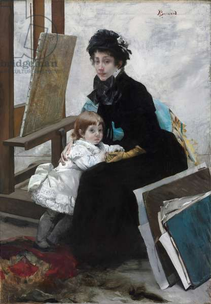 Madeleine Lerolle and Her Daughter Yvonne, c.1879-1880 (oil on fabric)