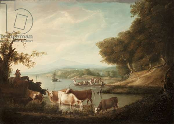 A Calm Watering Place--Extensive and Boundless Scene with Cattle, 1816 (oil on panel)