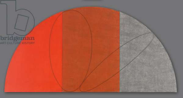 Curved Plane/Figure VII (Study), 1995 (acrylic & graphite on three canvases on stretchers joined to form a lunette)