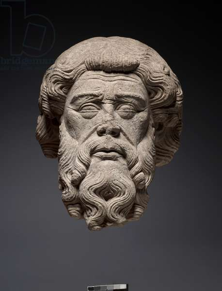 Head of an Apostle, c.1325-1350 (limestone, with traces of polychromy)