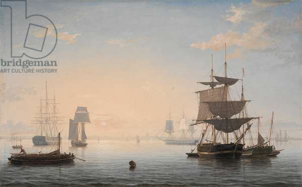 Harbor of Boston, with the City in the Distance, c.1846-47 (oil on canvas)