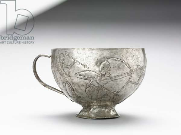 Lion Hunting Cup, 1100-1000 BC (raised, chased, repoussé silver)