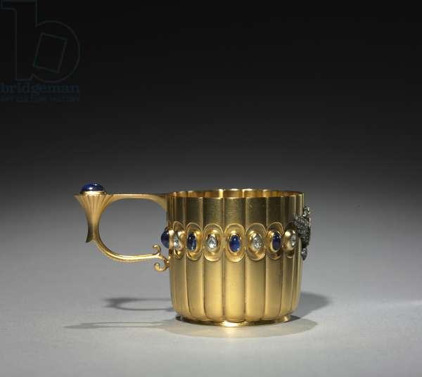 Miniature Cup, firm of Peter Carl Fabergé (1846-1920), before 1896 (gold, diamonds, sapphires)