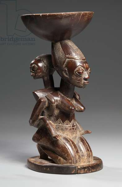 Mother-and-Child Caryatid Vessel, mid-late 1800s (wood)