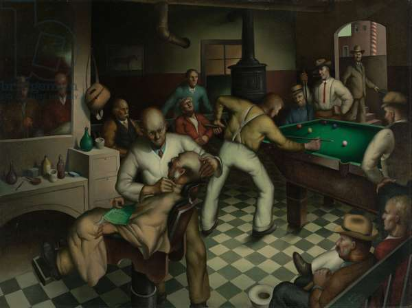 Barber Shop, 1934 (oil on canvas)
