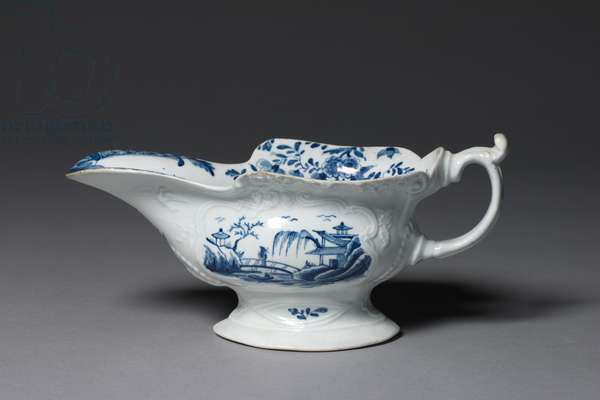 Sauce Boat, possibly by made by Worcester Porcelain Factory or Bristol Porcelain Factory, c.1752 (porcelain)