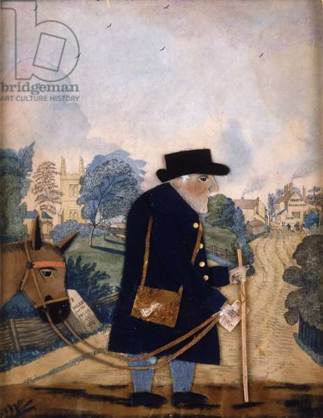 Old Man and Donkey, 1833 (collage & w/c on paper)
