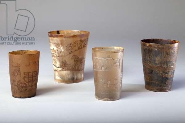 Horn Beakers (four), 1800-50 (horn)