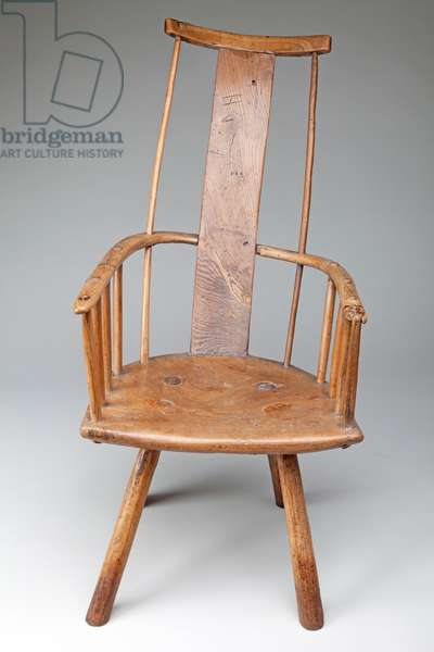 Primitive Windsor Armchair, 1700 (elm and ash)