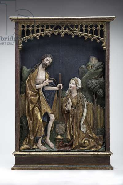 Noli Me Tangere, or Christ in the Garden with Mary Magdalene, c.1500 (painted wood relief)