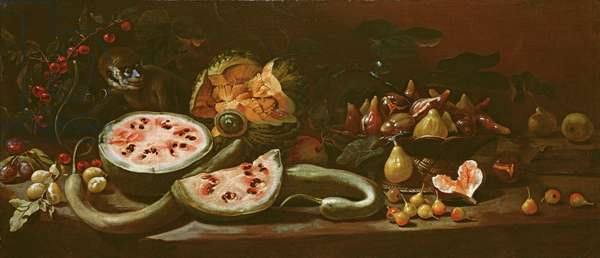 Still Life with Watermelons, Plums, Cherries, a Basket of Figs, Pears and a Monkey, c.1685 (oil on canvas)