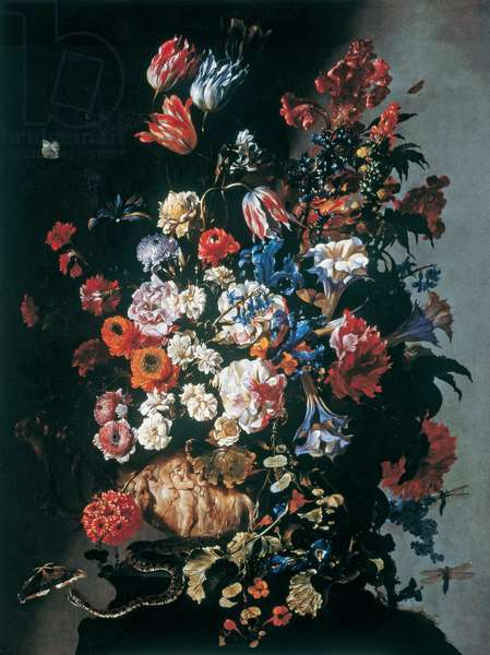 Still Life with Flowers, an Urn, Butterflies and a Snake, c.1660 (oil on canvas)