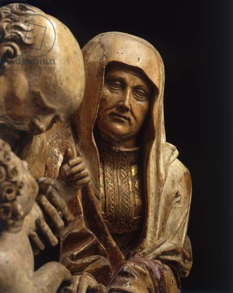 Detail from The Holy Kinship, c.1520 (polychrome limewood)
