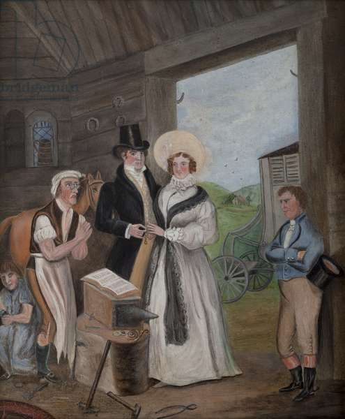 Ceremony at Gretna Green, initialled A.B., 1907 (oil on canvas)
