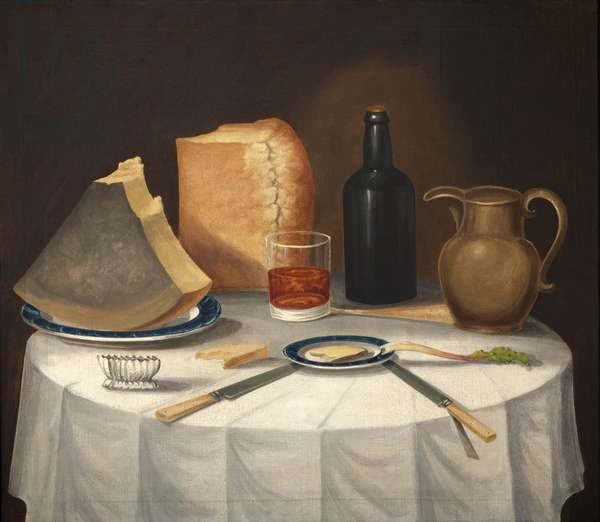 A Still Life with Cheese, Bread and Beer, c.1870 (oil on canvas)