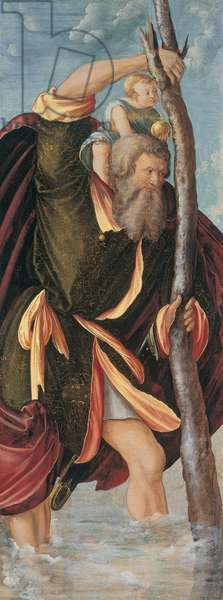 Saint Christopher carrying the infant Christ, wing of a Franconian altarpiece, c.1519-27 (oil on panel)